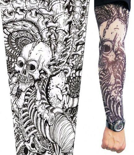 Skull tattoo sleeve stencil