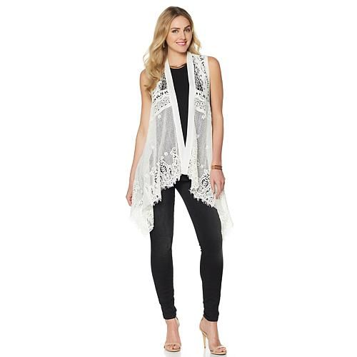 Colleen Lopez Spring Song Crochet Lace Vest - Star White