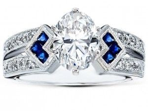 sapphire and diamond engagement ring1 300x225 Some Advice about Engagement Rings for Guys