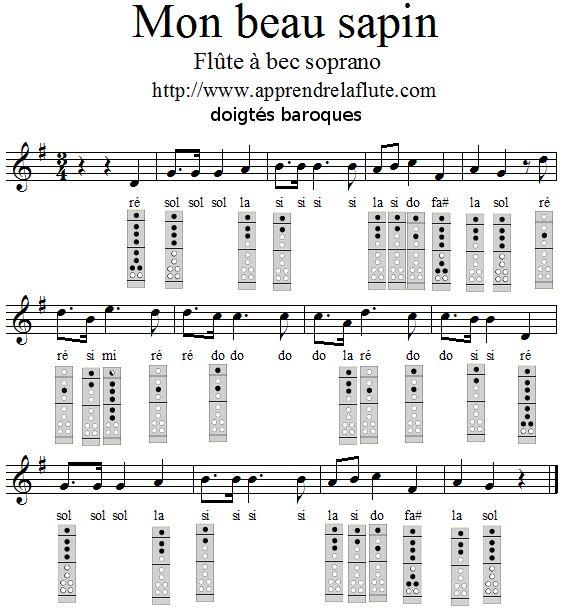 Mon beau sapin à la flûte à bec, doigtés baroques