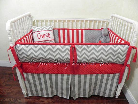 Red And Gray Chevron Crib Bedding