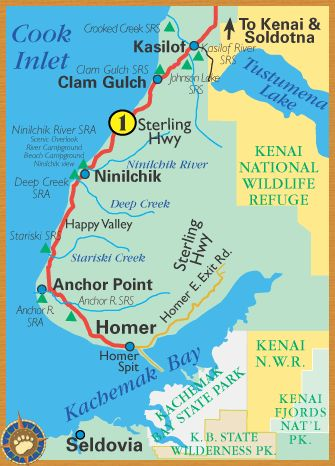 Sterling Highway from Kenai to Homer Alaska (and we lived at mile-marker 115.8 on the Sterling Hwy, in Clam Gulch)