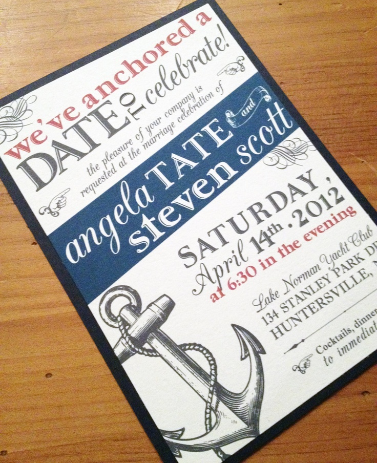 "Nautical Wedding Invitation. $3.25, via Etsy. For our ""reception"" in WA post wedding... end of FEB???"