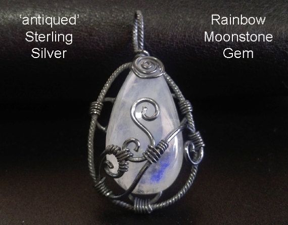 Celtic Necklace Pendant with Gorgeous Rainbow Moonstone Gem - Antiqued Sterling Silver - under $50 at www.treeoflifejewellery.com and www.etsy.com/shop/MyTreeOfLifeJewelry #treeoflife #treeoflifejewelry #jewelry #moonstone #jewellery #celtic #mothersdaygiftideas #mothersday