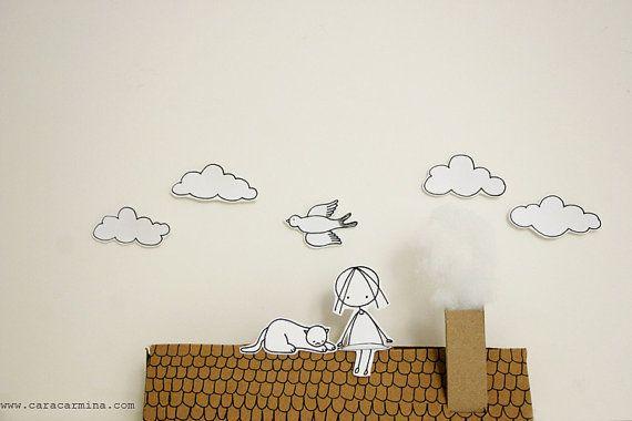 Sur le toit - impression Photo - diorama de papier - format lettre