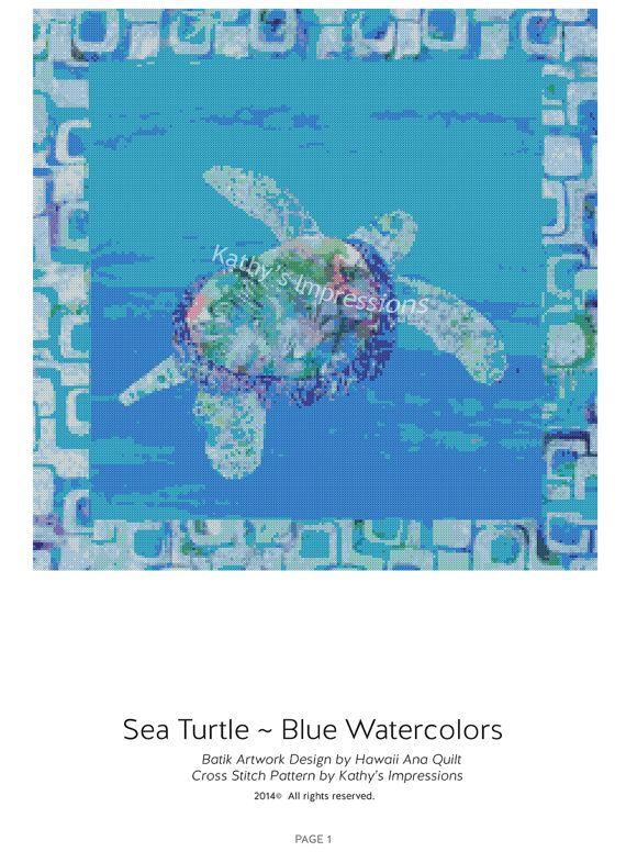 Cross Stitch Pattern Hawaiian Honu SEA TURTLE Blue Ocean Watercolors~ Digital PDF Instant File to Download and Print