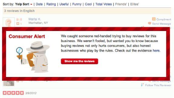 Yelp-Warning voor fake reviews