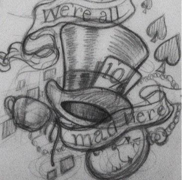 tattoo sketch, hat and banner