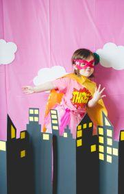 superhero party / super girl / toddler birthday party / kids birthday / THREE / superhero photobooth