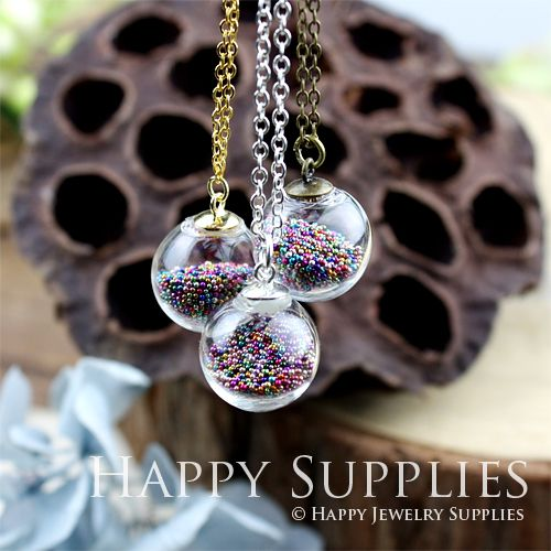 26 best jewelry microbeads images on pinterest jewerly jewel 28 per set 5 sets 16mm small clear glass globe bottle pendant necklace gb1604 aloadofball Image collections