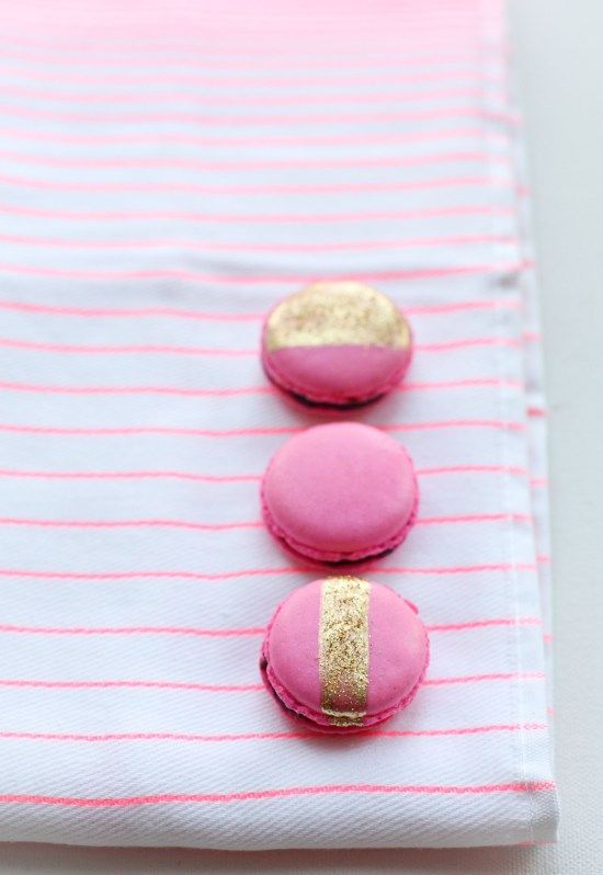 pink and gold glitter macarons