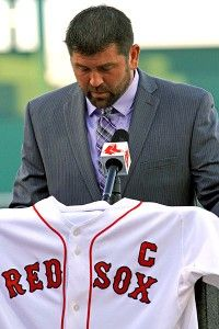 "This was Jason Varitek unmasked, having come to a decision that every fiber of a body battered and bruised from 15 big league seasons of playing baseball's most demanding position had resisted until it could resist no more. Varitek conceded he would no longer be putting on the Red Sox jersey, No. 33 on the back, the ""C"" over the heart, that he had worn as captain of the Red Sox."