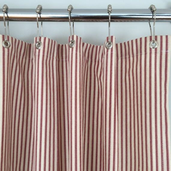 Red Ticking Stripe Shower Curtain 72x72 Or Extra Long 72x84 And