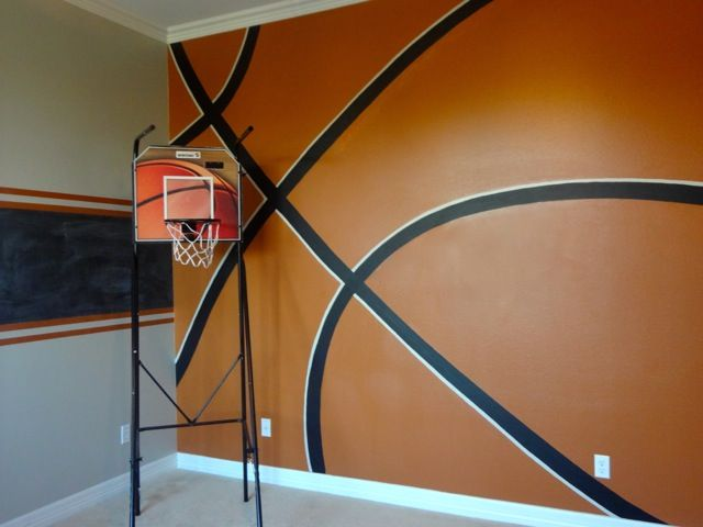 "basketball themed bedrooms for boys | ... when he saw the basketball wall..... ""AWESOME!"". Mom was happy too"