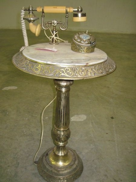 Antique Brass and Marble Rotary Phone Table/ Phone not ...