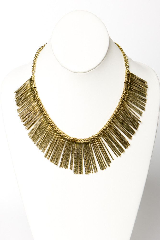 Brass Rays Collar Necklace