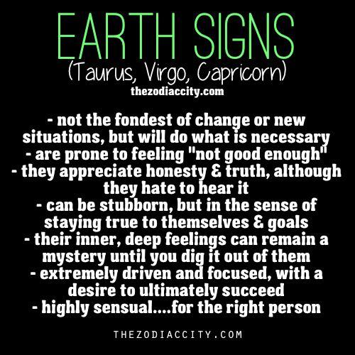 "zodiaccity: "" Zodiac Earth Signs | http://thezodiaccity.com """