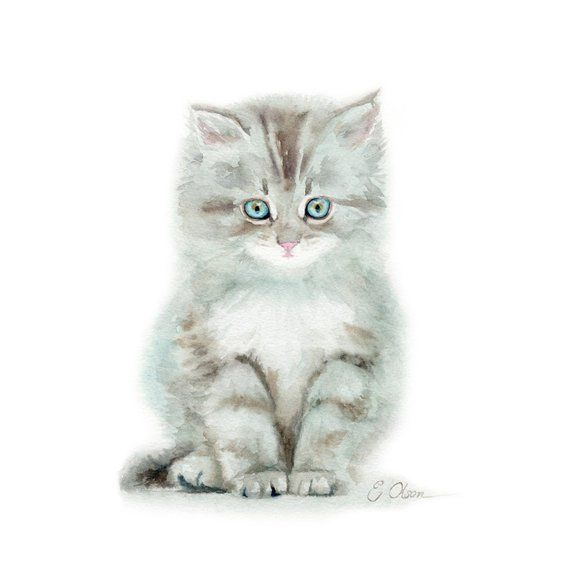 Original Watercolor Painting Of A Grey Kitten By Emily Jean Olson