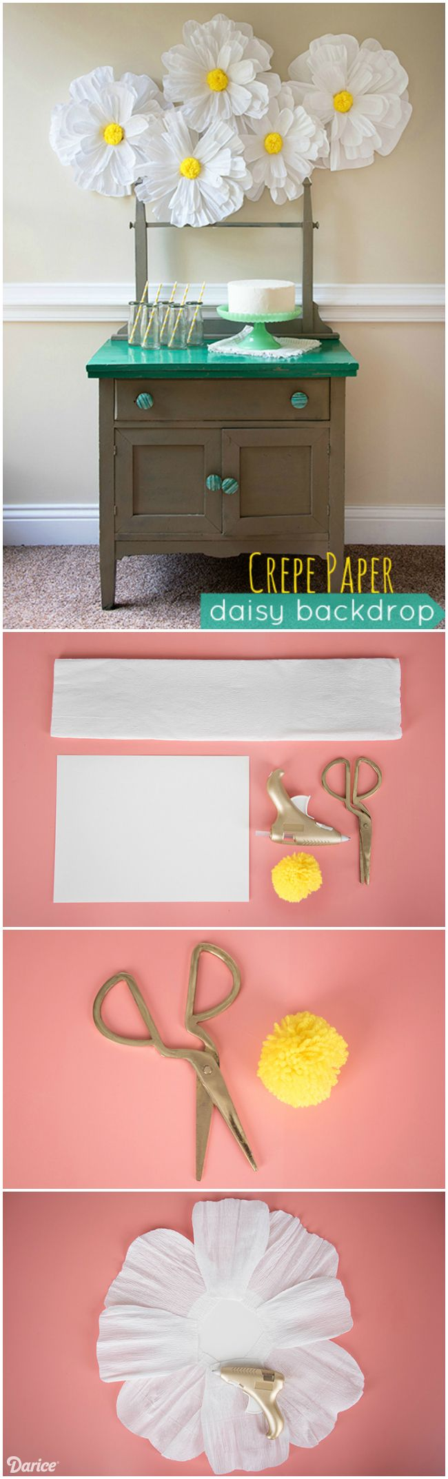 Grab your favorite color of crepe paper and some scissors and get to work. We promise this crepe paper daisy backdrop is worth the cutting time!