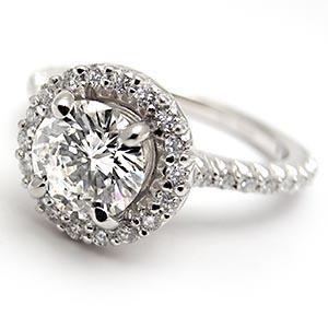 HALO STYLE 1 CARAT GIA DIAMOND ENGAGEMENT RING SOLID 14K WHITE GOLD