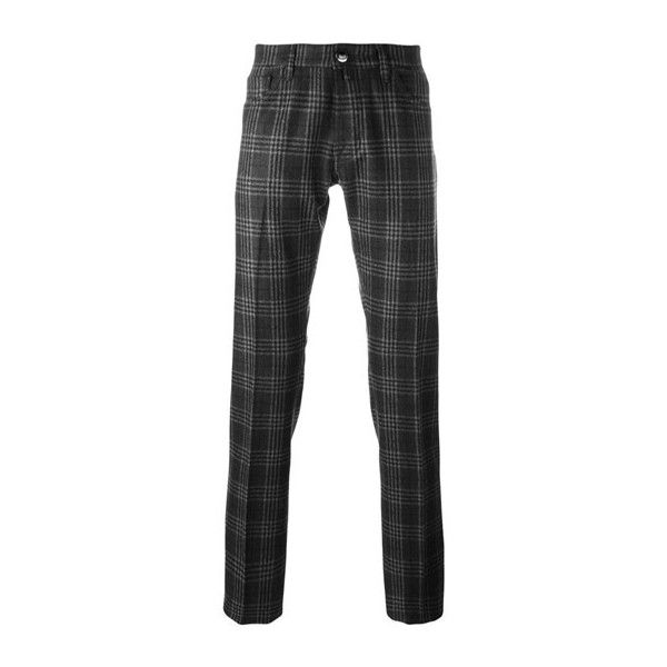 JACOB COHEN Plaid Straight Trousers ($455) ❤ liked on Polyvore featuring men's fashion, men's clothing, men's pants, men's casual pants, black, mens tartan pants, mens tartan plaid pants, mens wool pants and mens plaid pants