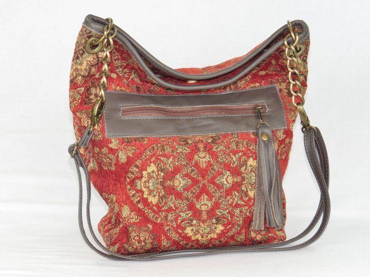 Boho Tapestry Handbag - Leather Cross Body Purse - Messenger Handbag for Women - pinned by pin4etsy.com