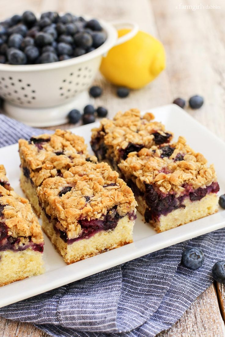 Blueberry Oat Crumble Bars from afarmgirlsdabbles.com