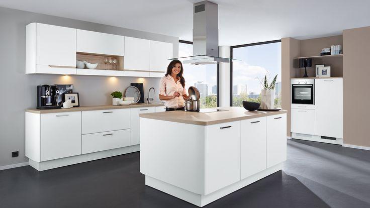 PINO 2-Zeilige Einbauküche in einer Graphit Front, Arbeitsplatte - küchen arbeitsplatte sonoma eiche