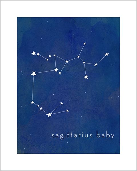 Art print for baby and kid's rooms from Hello Happy Design www.hellohappydesign.com. Sagittarius baby constellation; stars