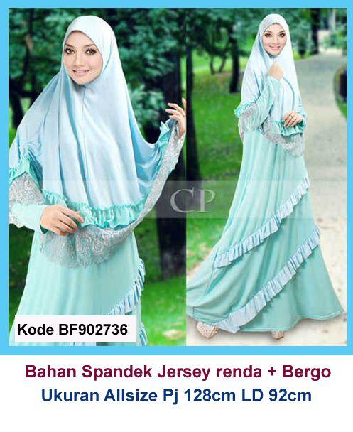Baju Gamis Modern Terbaru - Detail produk model baju Gamis jersey renda biru 736: Bahan : Spandek korea kombinasi renda import Kode : BF902736 Ukuran : Allsize, Panjang 128cm, Lingkar