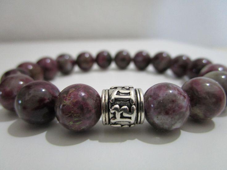 Pulsera Turmalina rosa,Pulsera de piedras semipreciosas,Encanto plata de ley mantra Om Mani Padme Hum,regalo para mujer,Pulsera de Turmalina de Lenajoyas en Etsy
