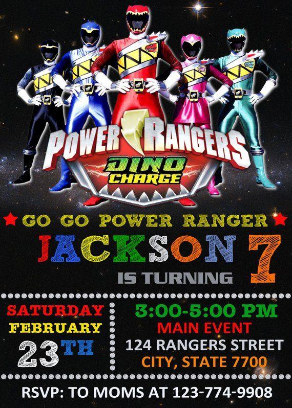 Power Rangers Invitation Card Birthday Invitations Etsy En