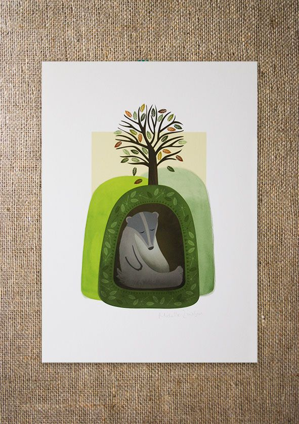Shh, it's nap time... Fun A4 art print inspired by the British countryside and designed to appeal to big kids and small ones too