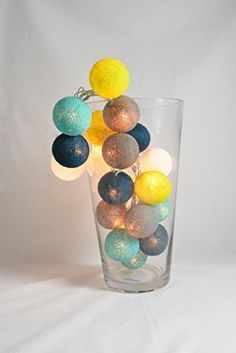 20 LED Blanc, Vert, Jaune, Turquoise, Cyan foncé, gris ardoise (1,67,5545,52,73) Guirlandes Lumineuse de Boules de Coton Décoratir, Lumières de la chambre, Lumières de partie, Lumières de mariage YooCotton http://www.amazon.fr/dp/B00QYJIWGK/ref=cm_sw_r_pi_dp_LBWtvb0MD8DZ5