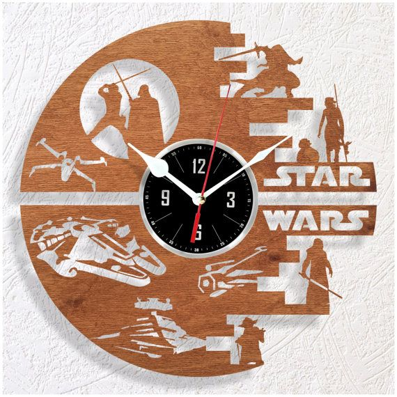 Wooden wall clock STAR WARS by WoodenHMcraft on Etsy