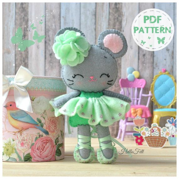 PDF modelo, bailarina de ratón de fieltro, patrones de fieltro, muñeca patrón.