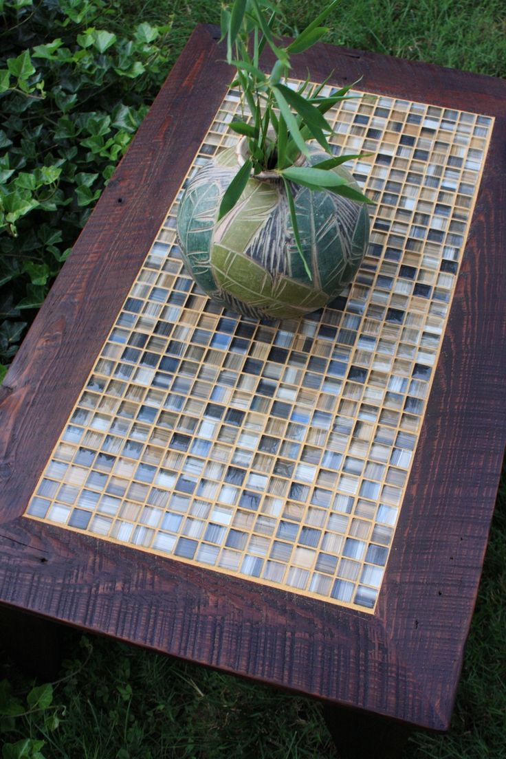 Coffee Table Tile Mosaic Reclaimed Wood Rustic Contemporary Dark Brown Wax Finish Tables