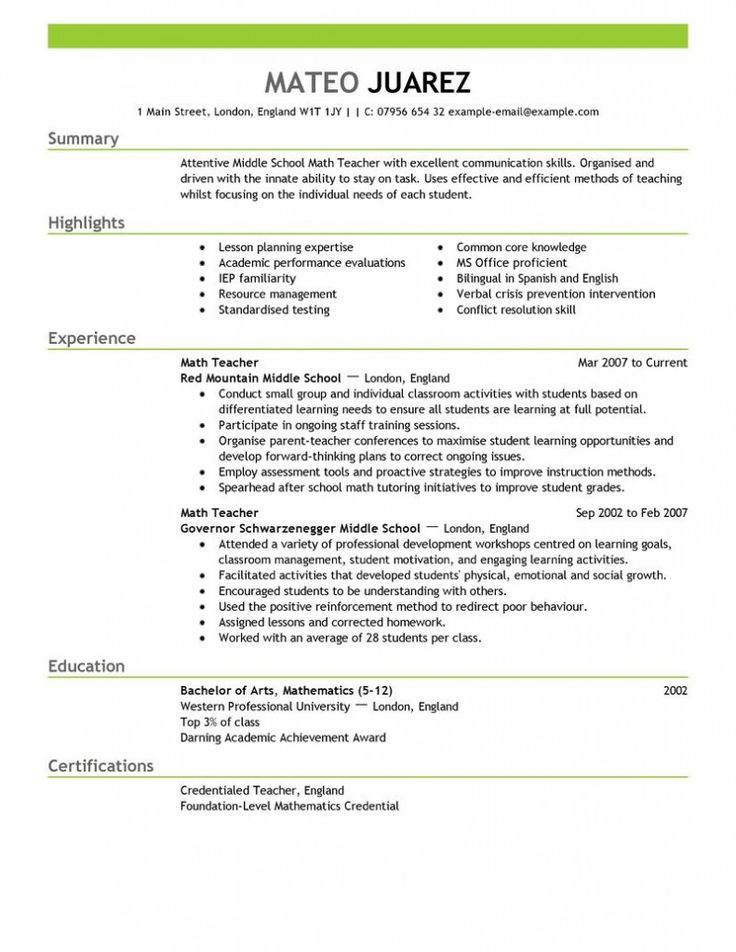 10 best Middle School English Teacher Resume Builder images on – Middle School Math Teacher Job Description