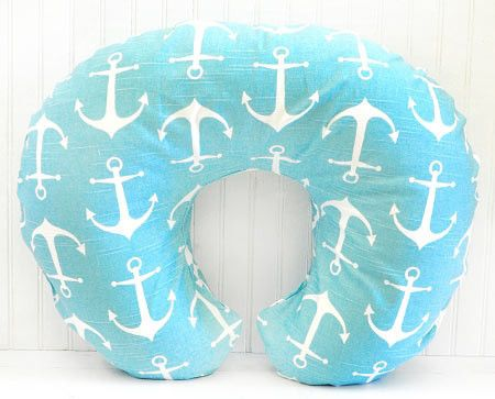 Aqua Anchor Boppy Cover is made to fit the standard Boppy Bare Naked Pillow. Remove slipcover for easy washing. Coordinate with our Anchors Away in Aqua Baby