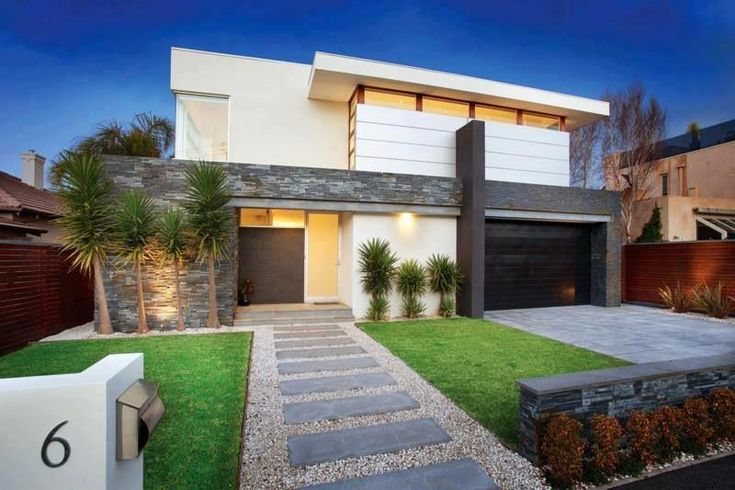 Modern front yard simple lines stepping stone entrance for Simple landscape design for front of house