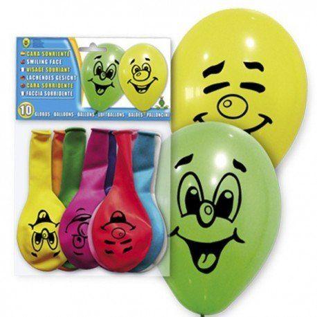 Detalles para #niños : bolsa con diez divertidos #globos de colores decorados con simpáticas caritas sonrientes. Ideales para decorar #fiestasinfantiles para #regalos  y  #globos para #decoracioninfantil