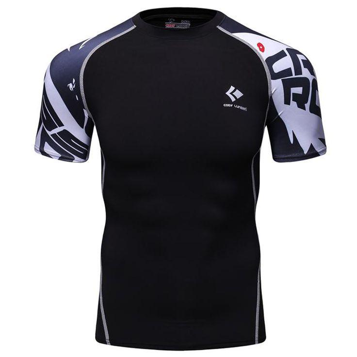 Hombres camisas de compresión skin tight térmica bajo jerseys de manga corta lycra crossfit ejercicio entrenamiento de la aptitud deportiva