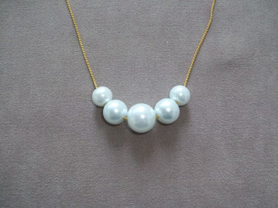 Five Pearls Wedding Necklace Swarovski pearls, gold plated chain