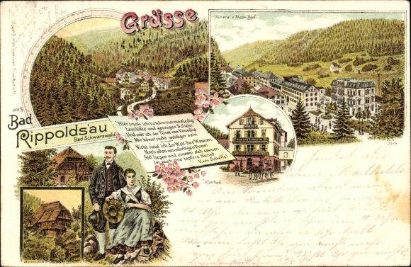 Litho Bad Rippoldsau Schapbach im Schwarzwald, Moorbad, Paar in Tracht