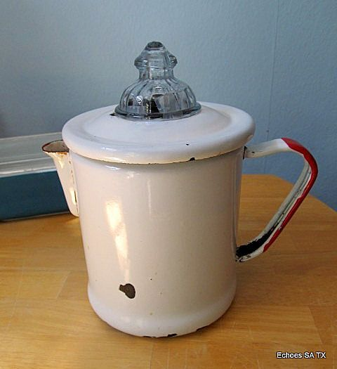 S Red And White Porcelain Coffee Perculator