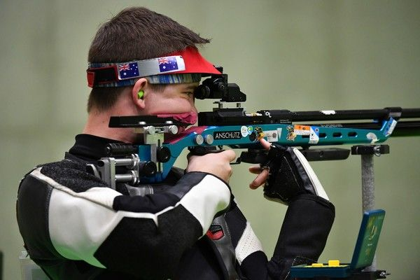 Australia's Jack Rossiter competes during the 10m Air Rifle Men's at the Olympic Shooting Centre in Rio de Janeiro on August 8, 2016, during the Rio 2016 Olympic Games. / AFP / PASCAL GUYOT