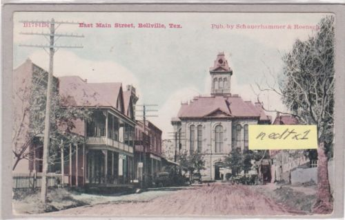 TX Bellville 1888 Austin County Court House Texas CH Tex Postcard | eBay  Shows Building that houses Nothing Ordinary Antiques...closest building with awning on left.  It was used as an annex to next door Steck Hotel.