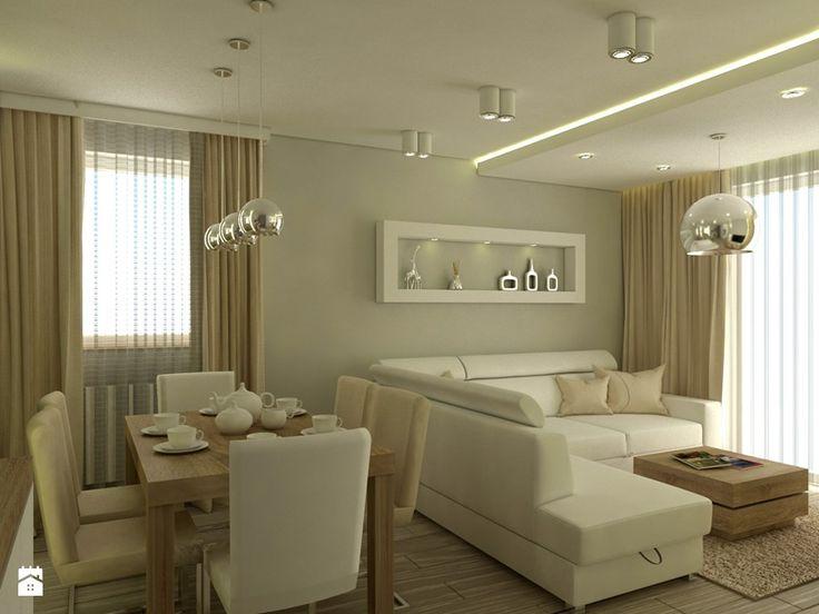 Waniliowy salon - Średni salon z jadalnią, styl nowoczesny - zdjęcie od Carolineart