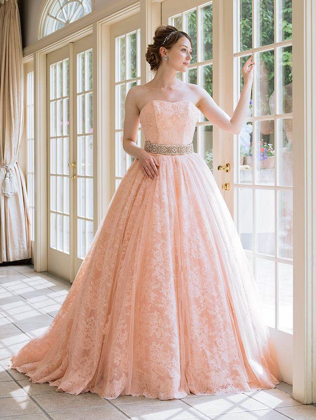 Kayısı rengi yetişkin pembe renk elbise SS9639AP Zarif dantel
