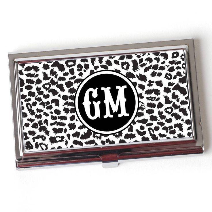 Cheetah Monogram Business Card Case - Monogram Business Card Holder ...